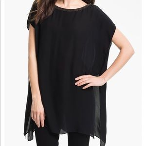Eileen Fisher Georgette Silk Tunic Beaded Neck 2X